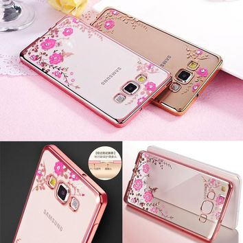 Fashion Secret Garden Flowers Diamond Phone Case Soft Silicone TPU Cover For Samsung Galaxy Grand Prime G530 G530H G531 G531F