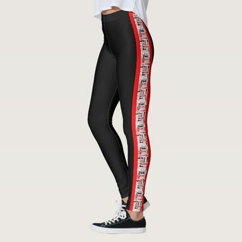 Multilingual Red and Black Vertical Stripe Leggings