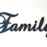 Large family sign, wooden family sign, cursive