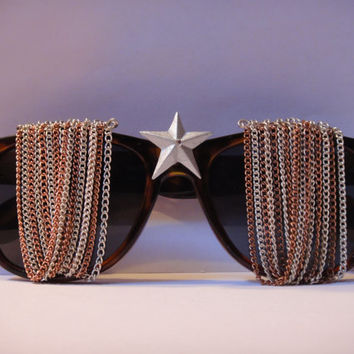 Chained Wayfarer Style Tortoiseshell Custom Sunglasses with Rhinestone Stars