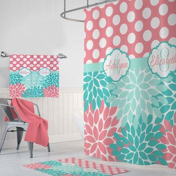 Sister SHOWER CURTAIN, Flowers Polka Dots Shower Curtain MONOGRAM Personalized, Sister Shared Girl Bathroom Decor, Bath Towel Bath Mat Rug