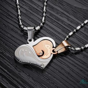 Zircon stainless steel pendants for couples-Valentines Gift!