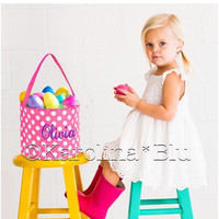 SALE- Pink Polka Dot Monogrammed Easter Basket  Limited quantities so order yours before they are gone