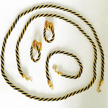Vintage Trifari ™ Set of Gold Toned Rope Chain with Woven Black Silk Cord, Matching Bracelet and Earrings, Dramatic, Elegant Vintage Jewelry