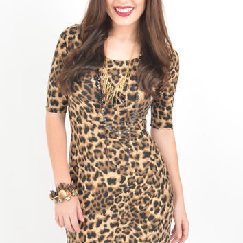 Short Sleeve Leopard Print Dress with Gathered Side Detail and Wrap Skirt