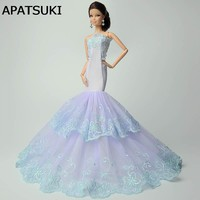 Light Blue Fashion Mermaid Dress For Barbie Doll Clothes Fishtail Wedding Dress For Barbie Doll Clothes Handmade Dresses