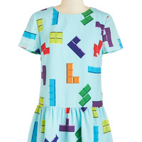 ModCloth Nifty Nerd Short Length Short Sleeves Drop Waist Puzzle and Flow Dress