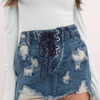 Summer's End Lace Up Denim Skirt