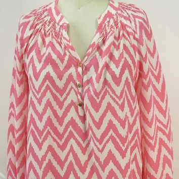 Lilly Pulitzer Elsa Silk Coral Blouse Get Your Chev On Chevron Top SZ S