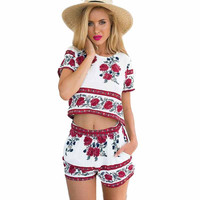 Summer Womens Jumpsuit 2 Piece Outfits Crop Tops Shorts Set 2016 Floral Print Rompers Casual Playsuit Ovaralls Macacao Feminino
