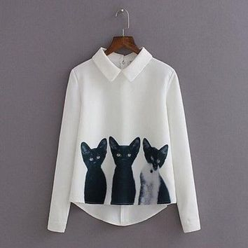 PEAPGB2 Fashion Cartoon Cat New Brand Women's Loose Chiffon Three Cats Tops Long Sleeve Casual Blouse Autumn Shirts High Quality