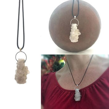 Spirit Quartz Necklace, Crystal Cluster, Cluster Necklace, Quartz Necklace, Festival Necklace, Metaphysical Jewelry Good Vibes Reiki Jewelry