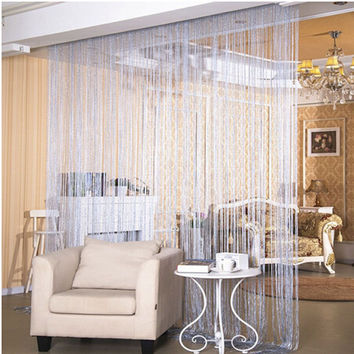 Fashion String Window Door Curtain Backdrop Blind Panel Tassels Valance Room Divider silver thread curtain