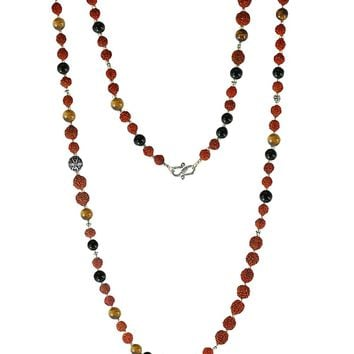 Core Strength Rudraksha, Tiger Eye and Black Onyx 108 Power Beads Mala Necklace
