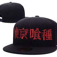 HAIHONG Tokyo Ghoul Logo Adjustable Snapback Embroidery Hats Caps - Black
