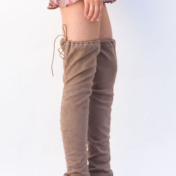 Revival Taupe Over the Knee Boots