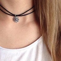 Adjustable Double Wrapped Choker/ Black Cord Choker Necklace/ Flower Charm