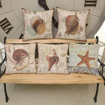 Vintage Marine Life Decorative Pillows Covers Home Decor Whelk Sea Snail Starfish Sofa Throw Pillow Cushion Cover Office Seat