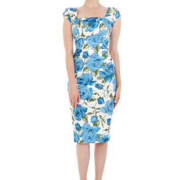 Cara Blue Hawaii Pencil Dress | The Pretty Dress Company