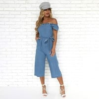 Melanie Denim Polka Dot Jumpsuit
