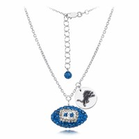 Detroit Lions Silver and Crystal Necklace Jewelry. NFL Jewelry