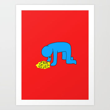 Keith Haring style - Too much alcohol - Funny Illustration Pop Art Art Print by Estef Azevedo