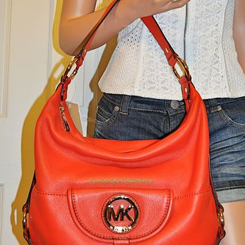 Michael Kors Fulton Hobo Large Leather Shoulder Tote Bag Purse Mandarin NWT