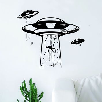 UFO Abduction V3 Decal Sticker Wall Vinyl Art Home Decor Space Aliens Martians Funny Mars Teen Kids