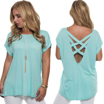 Cross With Honor Jersey Top In Aqua