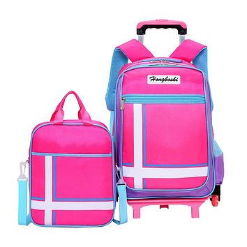 2/6 Wheels Backpack Latest Removable Children School Bags With Wheels Stairs Kids Girl Boy Trolley Schoolbag Luggage Book Bags