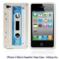 BONAMART ® White Silicone Retro Cassette Tape Case Skin Cover for iPhone 4S 4 AT&T Verizon