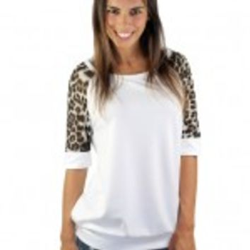 Ivory And Leopard Sleeve Top