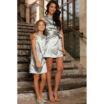 Silver Grey Charmeuse Sleeveless Cocktail Shift Mommy and Me Dresses