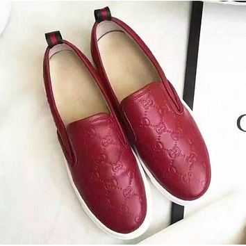 GUCCI Trending Women Men Stylish Red Leather Sneakers Sport Shoes