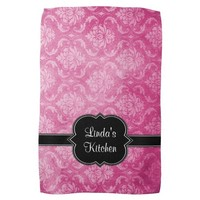 Pink Damask Black Personalized Kitchen Towel