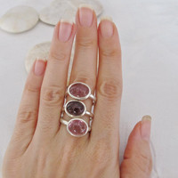 Sale Oval Tourmaline Ring- Cabochon Tourmaline Ring- Gemstone Ring- October Gemstone Ring- Promise Ring for Her- Statement Ring- Pink Stone