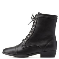 Black Bamboo Almond Toe Lace-Up Combat Boots