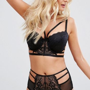 ASOS DESIGN Fuller Bust Florence strappy lace moulded underwire bra 30dd-38hh at asos.com