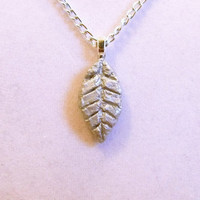 Silver Leaf Necklace, clay, pendant, fall, designed etched, thin, autumn, one of a kind, ooak, unique, sleek, very, nice, alluminum chain