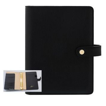 Refillable Spiral Snap button notebook pure black high level organizer accounts recording A5 A6