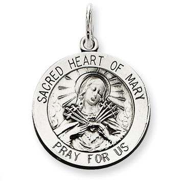 925 Sterling Silver Sacred Heart of Mary Medal Charm Pendant - 26mm