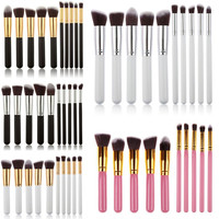 Women's 10 Piece Pro Makeup Blush Eyeshadow Blending Set Concealer Cosmetic Brush Tool Eyeliner Lip Brushes