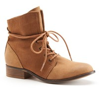 ShoeMint Alexandra Women's Leather Combat Ankle Boots