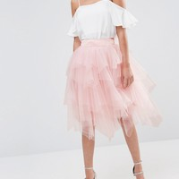 Chi Chi London Tulle Midi Skirt in Layers at asos.com