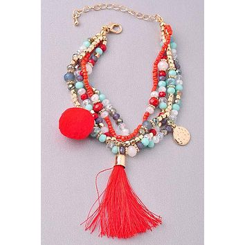 Color Pop Beaded Bracelet: Red