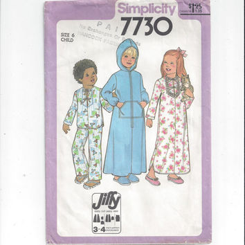 Simplicity 7730 Pattern for Child's Jiffy Robe, Nightgown, Pajamas, Size 6, From 1977, Vintage Pattern, Home Sewing, Hooded Robe, PJs, 1977