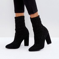 Glamorous Black High Sock Heeled Ankle Boots at asos.com