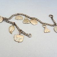 Vintage Girl Scouts Charm Bracelet 1950s Estate Jewelry 8 Sterling Silver Charms