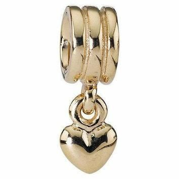New Authentic Pandora Charm Solid 14KT Yellow Gold Dangle Heart