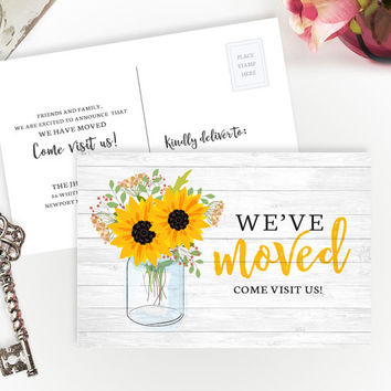 Sunflower we've moved cards PRINTED | Change of address cards | Mason jar moving announcements | 4X6 moving postcards